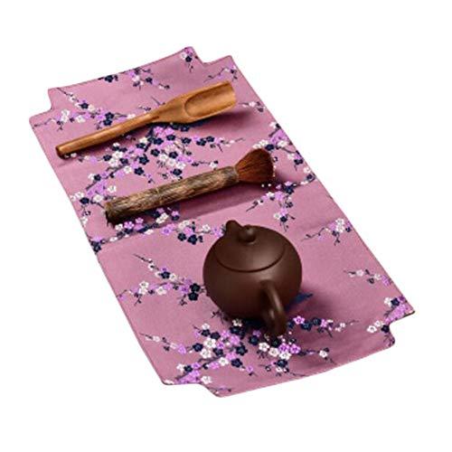 Wukong Paradise Yunjin Leinen Tischläufer Stickerei Tee-Matten Tablett Pad Tee Zubehör-A08 Paradiso Leinen