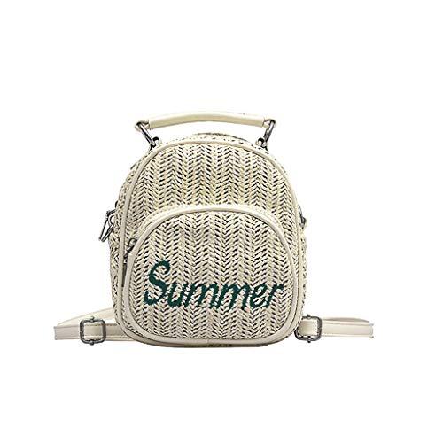Frauen Zeit Weben Noch Retro Freizeit Strandtasche Einfarbig Gewebt Rucksack Umhängetasche Kinder Mädchen Mini Handtasche Plüsch Bestickt Mädchen (Beige) -