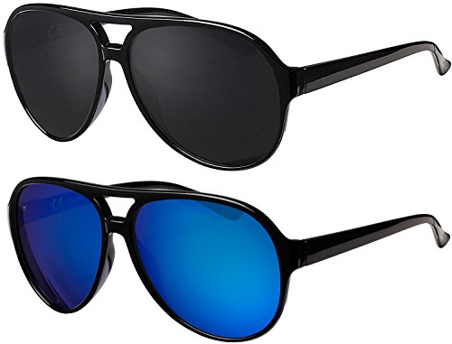 La Optica UV 400 Herren Retro Sonnenbrille Pilotenbrille Fliegerbrille - Doppelpack Glänzend (Rahmen: 1 x Schwarz, 1 x Blau verspiegelt)