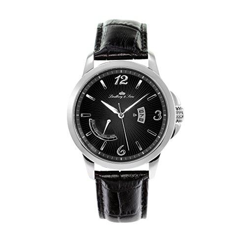 Montre Hommes Lindberg & Sons Quartz - Affichage Analogique bracelet Cuir Noir et Cadran Noir LS15H9