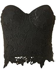 SECRETDRESSING - Bustier corset Soutien gorge bustier brassiere dentelle guipure - bonnet moulé ampliforme - très chic taille S au L lingerie push up soirée chic