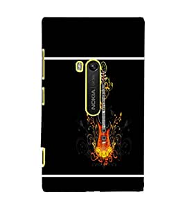 PrintDhaba Guitar D-1340 Back Case Cover for NOKIA LUMIA 920 (Multi-Coloured)