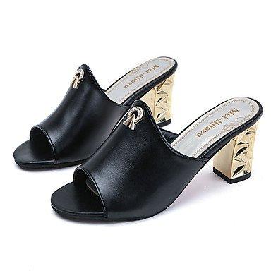 zhENfu donna pantofole & amp; flip-flops sandali Comfort PU Primavera Estate Casual Chunky blocco tacco tacco bianco nero 2A-2 3/4in Black