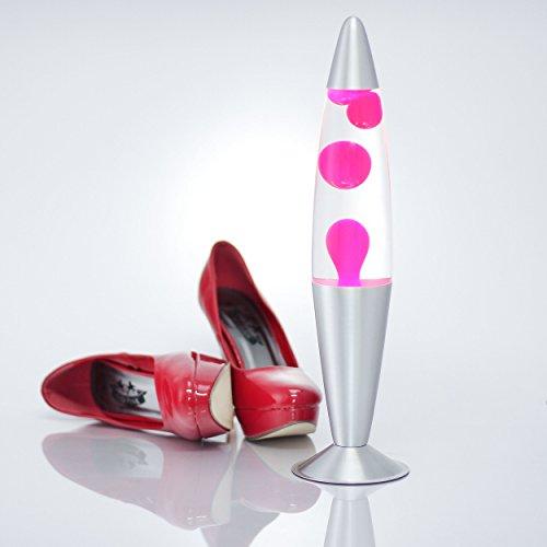 """Decorativa lámpara de lava de """"Jenny"""" LA551907 en De colour rosa con ventana transparente de líquido de, lava de bombillas de 45 cm de alto, con soporte de lámpara de lava Rosa lava"""