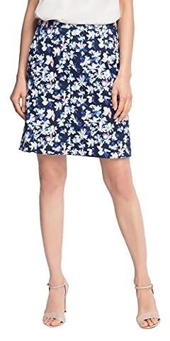 ESPRIT Collection Damen A-Linie Rock mit Blumenbrint, Knielang, Gr. 38, Blau (NAVY 400)