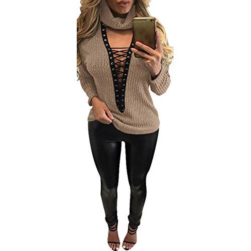 WintCO T-Shirt Veste des Femmes au Automne Pull Sexy Vague Veste Style Occidentale Sweatshirts Chaude avec Bandage Stand Collar en Coton Multicolor Kaki