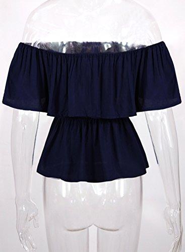 Futurino Damen netter Stickerei weg vom Schulter Volant Overlay Bluse Shirt Top Dunkel