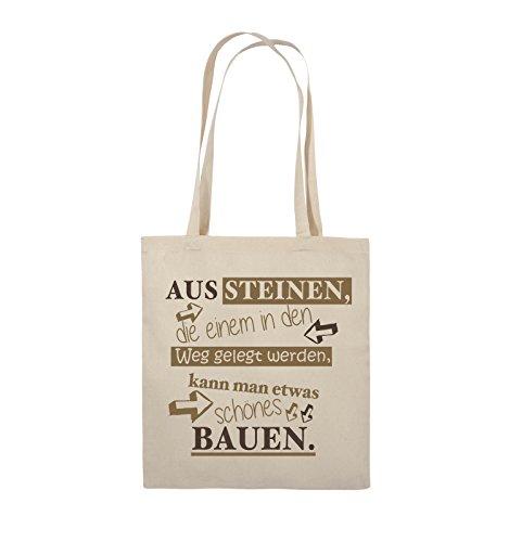 Comedy Bags - Aus Steinen, die einem in den Weg gelegt werden, kann man etwas schönes Bauen. - Jutebeutel - lange Henkel - 38x42cm - Farbe: Schwarz / Weiss-Neongrün Natural / Hellbraun-Dunkelbraun