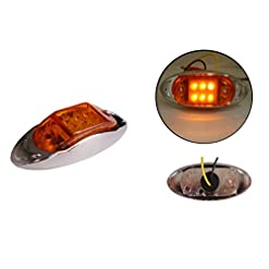 1 x 12/24 V 6 LED lato posteriore anteriore cromata Marker Amber Orange Light Lamp rimorchio Horsebox Van
