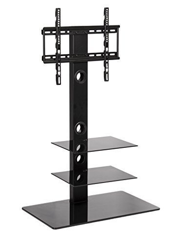 Mmt Universal Tv Stand With Mount For Flat Screens - Black Cantilever Tv Pedestal Stand/base| Up To 55