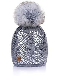 Winter Cappello Cristallo Grand Pom Pom Invernale Di lana Berretto Delle  Signore Delle Donne Beanie hat 30feb608e860