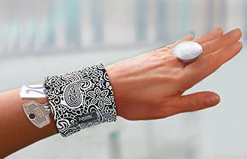 Handgelenktasche Armreif Safe Paisley Muster schwarz weiß / Muster blau goldbraun / Jeans Glitzer silber Geldversteck Reißverschluss Geldbörse Pulstasche Armtasche Jeanskleid Jeansrock Geschenkidee Geschenke Damen