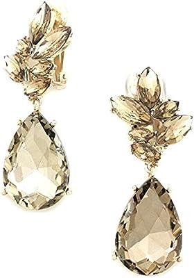 Statement Luxus larga pendientes Clip On Clips pendientes Muelle Diseño Cristal miel Oro 6,5cm de largo