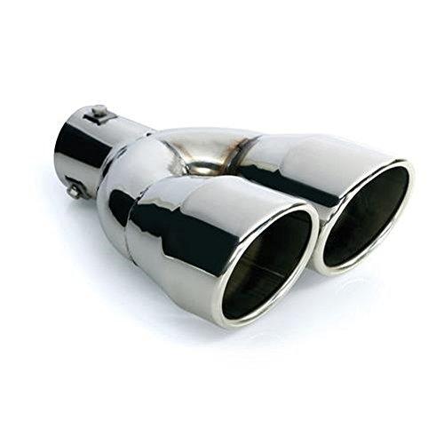 CARTUNER® Auspuff Blende Endrohr 2 x 90 mm rund Edelstahl in Sportauspuff Optik Absorber Doppelendrohr 36-54mm
