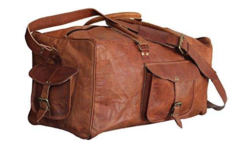 Craftvilla Sac de voyage vintage en cuir pour homme Marron