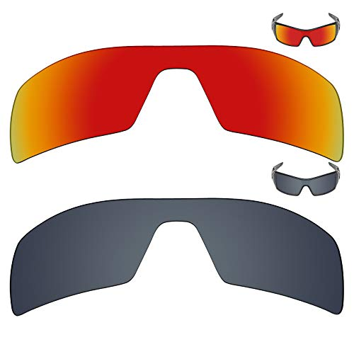 MRY 2Paar Polarisierte Ersatz Gläser für Oakley Oil Rig Sonnenbrille-Rich Option Farben, Fire Red & Black Iridium