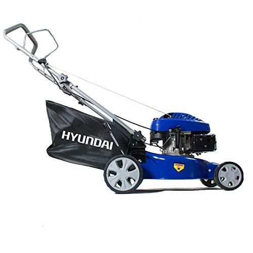 Hyundai HYM43SP 139 cc Self-Propelled Rotary Petrol Lawn Mower Soft Grip Handle, Six Heights