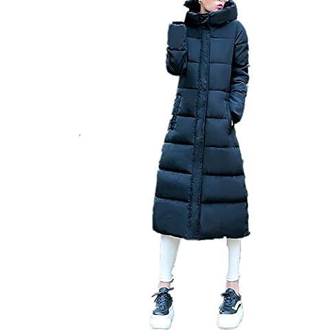 BOMOVO Abrigo de plumas de manga larga para mujer capa gruesa de largo