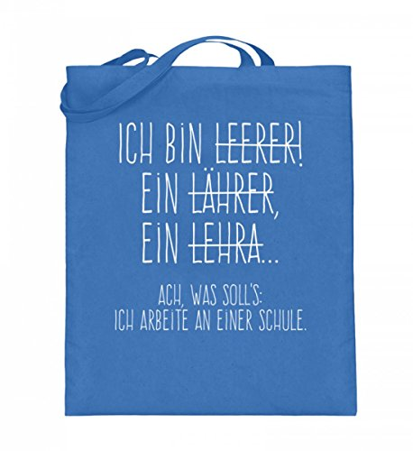 Hochwertiger Jutebeutel (mit langen Henkeln) - Perfekt für alle Lehrer! Blau