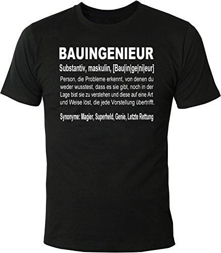 Mister Merchandise Herren Men T-Shirt Bauingenieur Definition Geschenk Gag Job Beruf Arbeit Witzig Spruch Tee Shirt Bedruckt Schwarz, L