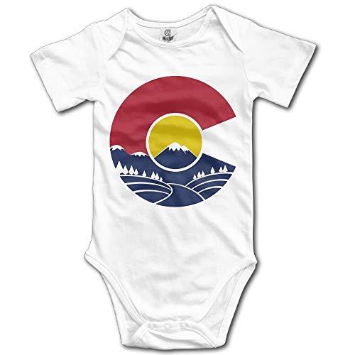 TKMSH Rocky Mountain Colorado Newborn Babys Short Sleeve Jumpsuit Outfits White