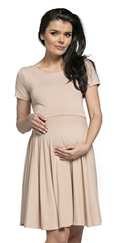 Happy Mama Damen Umstands Stillkleid Midi Schaukel Kleid Kurzarm.084p (Beige)