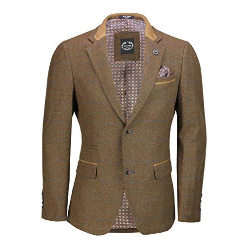 751fced9b3 Xposed Mens Vintage Wool Mix Tweed Herringbone Check Blazer Grey Brown  Green Smart Designer Jacket