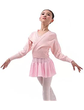 YiZYiF Kinder Ballett Wickeljacke, Schulterjacke Jacke in Rosa, Schwarz und Rot, praktische und wärmende Ballettjacke...