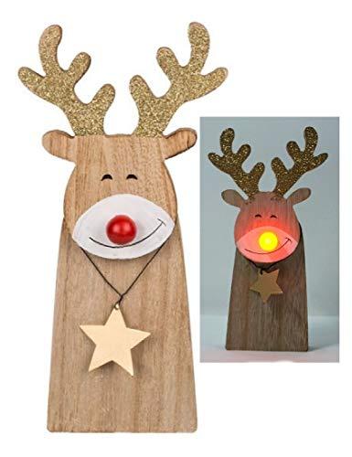 CBK-MS Holz Rentier groß 25 cm mit roter LED Leuchtnase Dekoration für Advent und Weihnachten