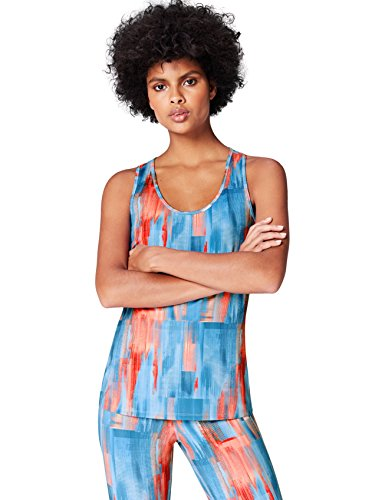 Activewear Canotta Sportiva con Stampa Donna, Blu (Abstract Print Aop), 46 (Taglia Produttore: Large)