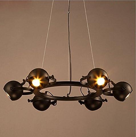 Américain Retro Fer Noir 6 light Lustre pour Restaurant,Salon Bar table,Lustre,Bureau,Lampe