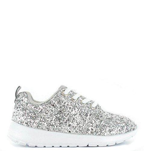 SHUMAD  Glitter Trainers, Baskets mode pour fille silver
