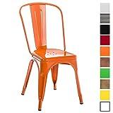 CLP Metallstuhl Benedikt mit hoher Rückenlehne und Bodenschonern I Stapelstuhl aus Metall mit Einer Sitzhöhe von: 46 cm I In Verschiedenen Farben erhältlich Orange