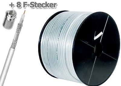 120dB Koaxial Antennen Kabel (STAKU) 4fach geschirmt 30m inclusive 8 x F-Stecker von MANAX - Lampenhans.de