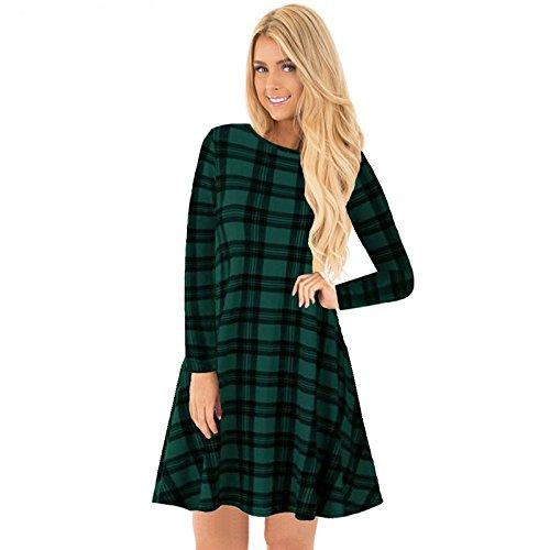 Tanz Schneemann Kostüm (Erica Damen Weihnachten Kostüm Kleid Print Rundhals Langarm Herbst Party , l1025 green ,)