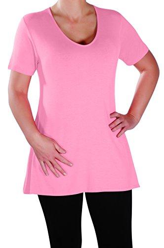 Eyecatch - Delphine Col En V Aux Femmes Plus Taille Tops Manche Courte Décontractée Dames Long Évasée T-Shirt Tunique Tops Bébé Rose