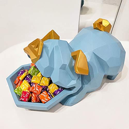 DSZXHN Skulptur Deko,Modern Creative Blue Lucky Pig Candy Box Ornamente Desktop Dekoration, Tier Geformt, Skulpturen Tierfiguren Statuetten, Für Zu Hause Wohnzimmer Büro Bücherregal Handwerk Geschenk - Haben Box Engel Die Blue Die