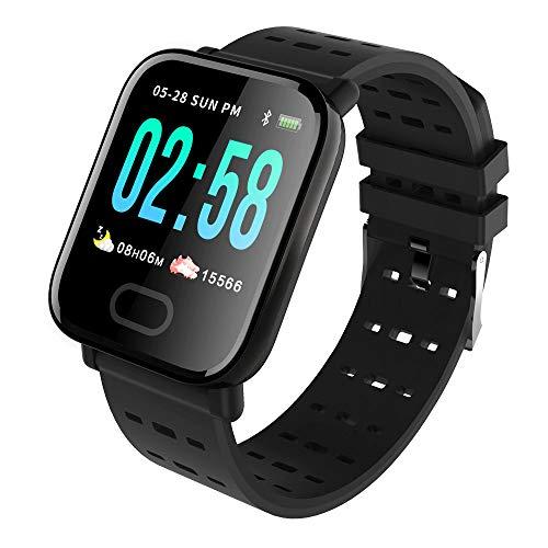 KawKaw Smartwatch Generation X Für Damen, Herren & Kinder Mit Fitness Tracker, Schrittzähler, Pulsuhr, Wasserdicht, Blutdruckmessung Für iOS Android & Whatsapp (Schwarz)
