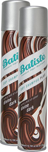 Batiste dry shampoo divine dark dry shampoo with a gentle hint of colour for black and dark brown hair, fresh hair for all hair types, pack of 2 (2x 200ml).