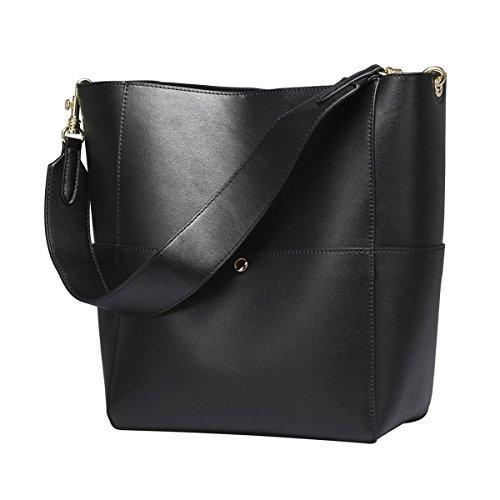 S-ZONE Frauen Farbblockierung Echtes Leder Schulter Beutel Handtaschen (Schwarz)