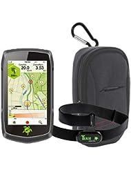 Tahuna Teasi ONE4 + Fahrradhalter Lenkerbefestigung + USB Netzteil + Schutzfolie + optionales Zubehör (Tahuna Teasi ONE4, Herzfrequenz-Sensor + Tasche)