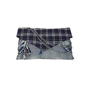 Clutch Tasche, Kleine recycelte Jeans Umhängetasche – Crossbody Bag mit Kette Schulterriemen – Messenger Handtasche mit Reißverschluss – Blau – 38/24 CM