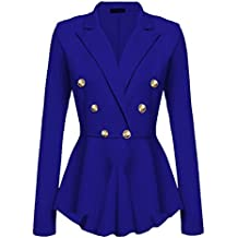 YuanDian Femme Automne Causal Double Breasted Manches Longues Veste Blazer Slim Fit Veste Tailleur Cintrée Habillée Costume Jacket