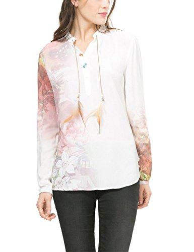 Desigual Lidia, Camicia Donna, Bianco (Tiza), 36 cm (Taglia Produttore: M)