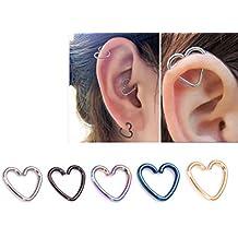 5pcs acero inoxidable corazón en forma de labio oreja nariz anillo Piercing del cuerpo de postes de madera diferentes colores