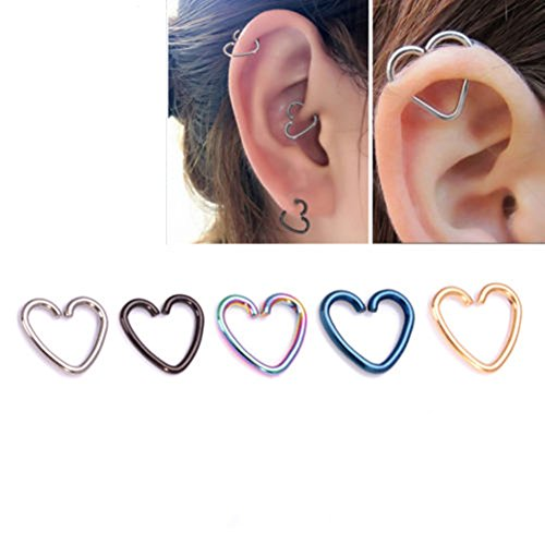 5pcs stainless steel heart shaped lip ear nose ring Piercing wooden poles body different colors