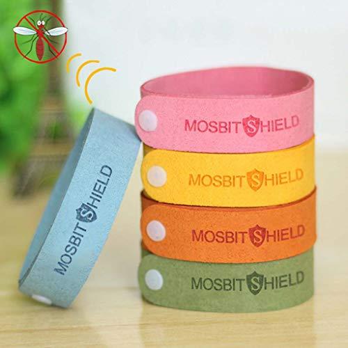 Mückenschutz Armband 5 Stück - Sommer Mückenschutz Armband Schnalle Super Fiber Alle natürlichen Erwachsenen Kind wasserdichtes Armband,Multicolored