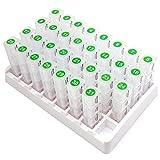 PuTwo Pillendose Monat Tablettenbox 31 Tage Reise Medikamentenbox 4 Fächer pro Tag Pillenbox ein Monat Tablettendose mit Weißen Basis Pillen Organizer für Unterwegs Große Medikamentenbox - Transparent