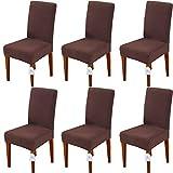 LUOLLOVE Stuhlhussen, Stretch Abnehmbare Waschbar Stuhlbezug für Esszimmerstühle,Stretch Stuhl Mit Gummiband für Esszimmer,Hotel,Bankett(6 Stück,Braun)
