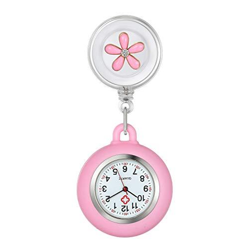 Krankenschwester Uhr Set Bl체tenblatt Dehnbare Pink, Krankenschwesteruhr Analog digital Schwesternuhren Silikon FOB Ansteckuhr Set f체r...